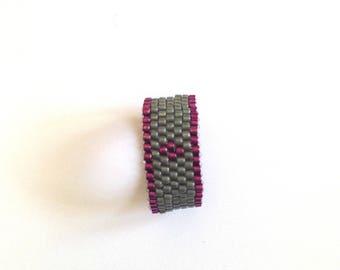 Ring weaving beads miyuki diamond.