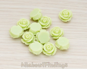 CBC141-01-LG // Lime Green Colored Curved Petal Rose Flower Flat Back Cabochon, 6 Pc