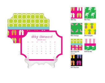 2018 Desk Calendar / Custom Calendar / Calendar with Stand / Bookplate Calendar / 2019 Calendar / Monogrammed Calendar Planner Preppy