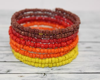 Autumn - brown, orange, red and yellow glass beads memory wire bracelet