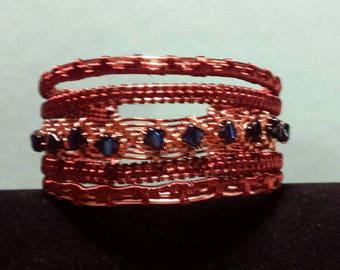 Athena wire wrapped copper bracelet