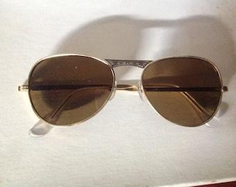 True Vintage MOD Aviator Sunglasses Gold Metal Frame Brown Glass Lenses Japan NOS 1342