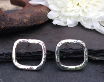 British Handmade hammered soft square stud earrings.