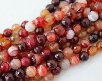 Full Strand Red White Lace Agate Faceted Round Beads 8mm