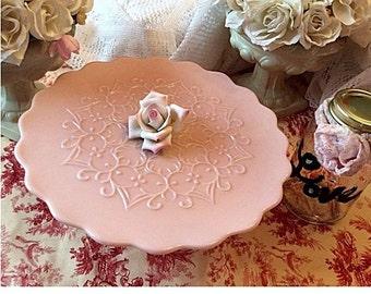 Fenton Pink Milk Glass pedestal cake stand