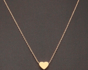 Dainty Necklace, Tiny Gold Heart, Delicate Fine Chain, 16K Gold Plated
