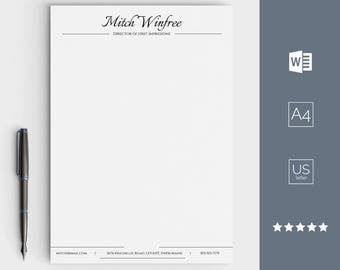 Letterhead Template, Business Letterhead for Word, Custom Made and Easy Editable, Stationary Designs, Personalised Letterhead, Digital DIY