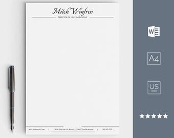 Letterhead Template, Business Letterhead For Word, Custom Made And Easy  Editable, Stationary Designs