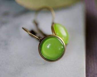 GORGEOUS DROP EARRINGS - French Lever Back 12mm Earrings - Apple Green