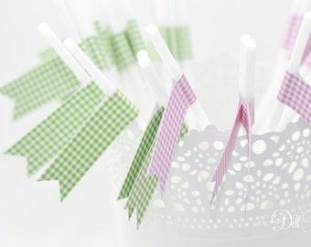 Pink or Green Gingham Flagged White Party Straws - 24 count