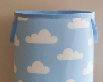 Toy Storage, Nursery Fabric Basket, Storage Bin, Toy Basket, Nursery Storage, Blue, White, clouds