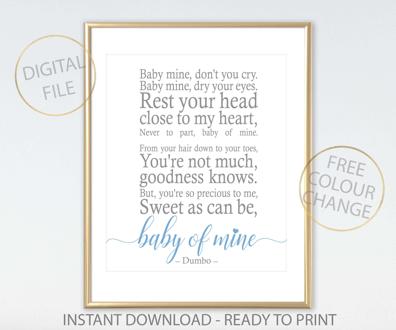 Dumbo Quotes Dumbo Baby Of Mine Disney Quote Baby Of Mine Printable