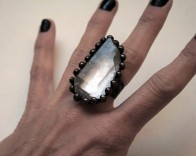 Extra Large Terminated Clear Quartz Crystal Ring // Clear Quartz Adjustable Ring