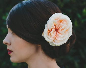 Peach Rose Hair Clip, Peach Rose Hair Flower, Peach Rose Hair Accessory, Peach Hair Flower, Peach Flower Hair Clip