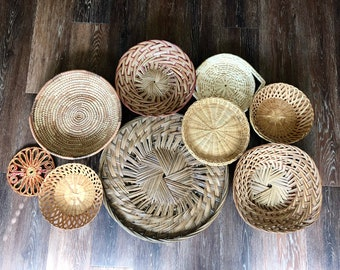 Vintage Wall Basket Set // Basket Collection // Vintage Basket Display (9 Pieces)