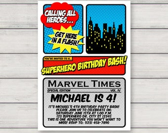 Superhero Invitation PRINTABLE Superhero Comic Book Birthday Party Invitation INSTANT DOWNLOAD with Editable Text