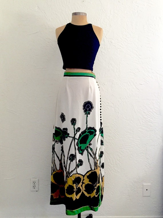 60s Plant On It Floral Skirt