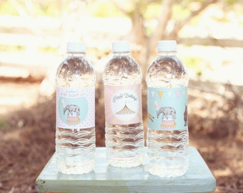 Pink Circus Carnival Water Bottle Labels- Printable, Instant Download