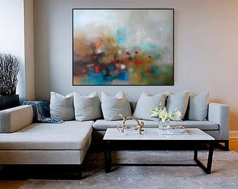 "XL Abstract oil canvas gray blue seascape minimalist Extra Large long horizontal painting for over sofa 48""x36"" modern landscape blue gray"