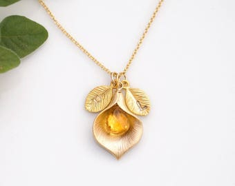 Personalized Necklace, November Yellow Citrine Birthstone Necklace, Custom Initial Jewelry, Calla Lilly Necklace, Meaningful Gift for Her