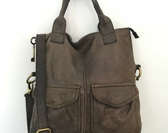 Vintage Brown Leather Fossil Crossbody Purse