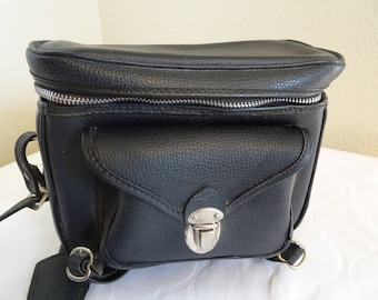 LOVELY Vintage 1980's Black Cross Body Camera Bag/Satchel MADE In JAPAN - Cute For Other Uses!!
