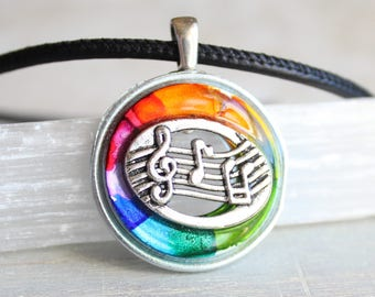 rainbow music necklace, musical jewelry, musical note, treble clef, music melody, musician gift, music lover, mens jewelry, mens necklace