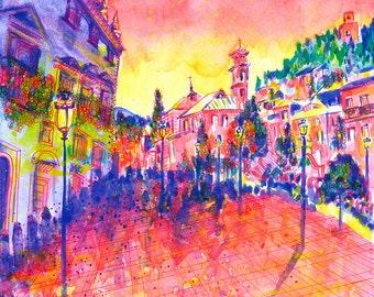 Granada Print: Plaza Santa Ana, Granada, Spain