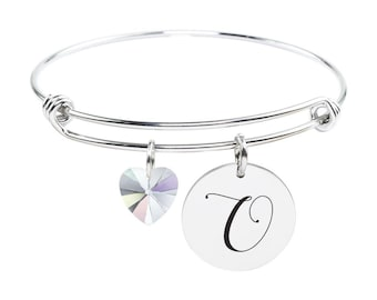 Initial Bangle made with Crystals from Swarovski - O - SWABANGLE-GLD-AB-O - Silver