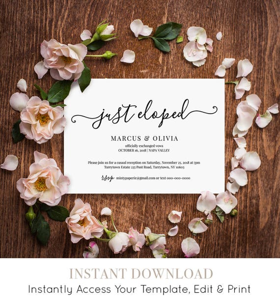 Printable Elopement Announcement, Elopement Invitation Template, Just Eloped, Reception Invite, Instant Download, Editable #030-105EL