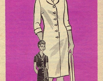 60s Shirtdress Pattern Mail Order 9095. Notch Collar, Button Front, Short or 3/4 Sleeve. Half Size for Petites Size 20 1/2 Bust 41 inches.