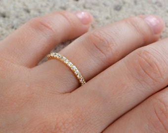 High Quality Cz Eternity Band Ring. 2MM Sterling Silver Gold Plated Wedding Band. Full Eternity Band Ring. Silver Stacking Rings.