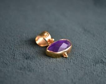 Amazing Gold and Amethyst Gemstone Pendant, 18K Solid Gold Pendant with Amethyst Gem, Womens Gold Pendant, Gift for Her, Greek Artisan Jewel