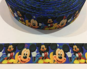 3 Yards of Ribbon 1 inch Wide - Inspired by Mickey Mouse blue