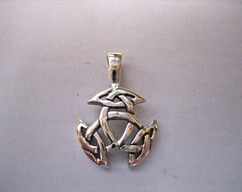 SALE Vintage 925 Sterling Silver Celtic Trinity Knot Pendant