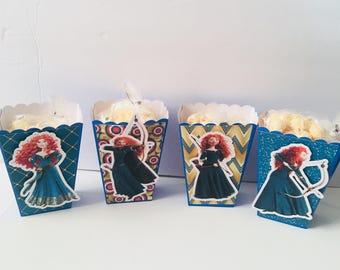 Brave Merida Scottish Princess| Popcorn Boxes, Treat Boxes, Favor Boxes, Goody Boxes, Snack Boxes, 12 Boxes