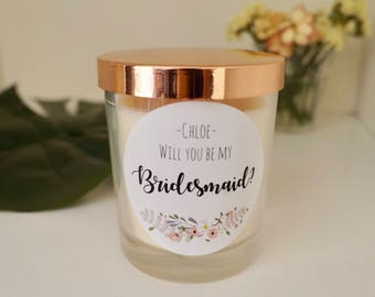 Bridesmaid Soy candle / Maid of honor/ Matron of honor / Custom favour / Baby shower gift / Bomboniere /