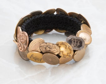Antique Gold-Filled Button Bracelet