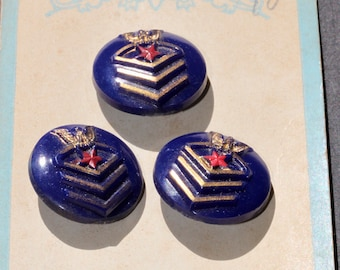 Original Store Card of Blue Plastic Insignia Buttons