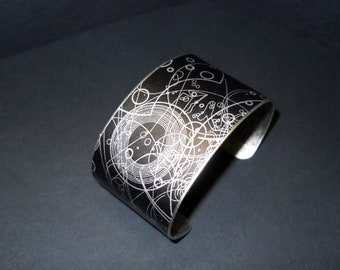 Dr Who Steampunk Doctor Who Gallifrey Symbols 1.5 X 6 Inch Stainless Steel Cuff Bracelet