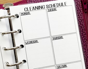 Pocket Cleaning Schedule printed planner insert - supplies needed - clean house - chores - weekly maintenance