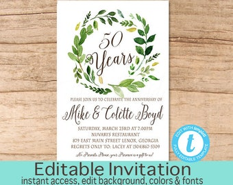 Anniversary invite etsy 50th anniversary invitation stopboris Images