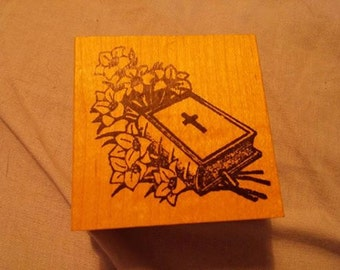 Retired , Wood and Rubber Stamp  - Easter - Bible & Flowers