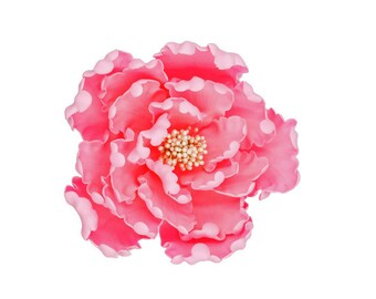 Pink Peony Sugar Flower - Unique Wedding Cake Topper - Gumpaste Flowers - Stamens in gold, silver, rose gold, white, black, or yellow
