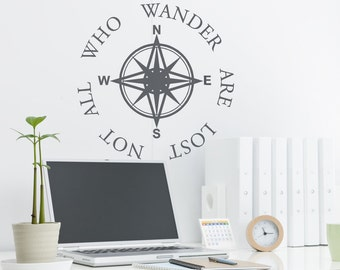 Compass Wall Decal,Nautical Wall Decal,Travel Gifts,Office Wall Decals,Office Decor for Him,Rv Decal, Decals for Rv,Travel Decal,Beach Decor