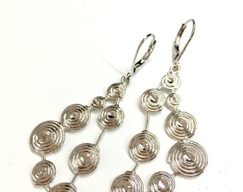 Silver Triangle Earrings w/ Spirals. Geometric Earrings. Long Dangle Earrings. Women's Drop Earrings. Party Earrings. Gift for Wife / Mother