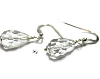 Sterling Silver,  Rock Crystal, earrings, womans, for her, handmade, boho, minimalist, elegant, contemporary, great gift, Free shipping
