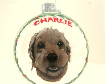 Labradoodle, Custom Pet Portrait, Christmas Dog, Personalized Dog Painting, Holiday Ornament, Handpainted Pet, Dog Memorial, Gift for Mom