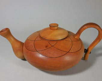 Madrone wood decorative teapot, textured