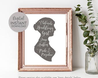 Gift for woman reader / Jane Austen gifts for women / Pride and Prejudice gift / Wall art women / DIGITAL FILE DOWNLOAD